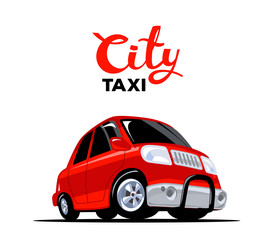 Vector illustration of red taxi car with header on white backgro