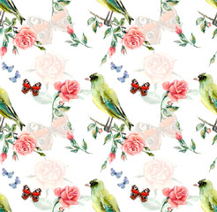 Greenfinch seamless. Pattern from roses. Flower backdrop. Watercolor hand drawn illustration