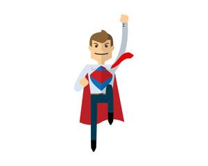 Vector of Businessman flying up like Superman, super hero