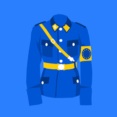 Uniform in colors of European Union as metaphor of EU and its tendencies of greater integration and centralization as some competences of national states are transferred to Brussels.