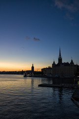 Silhouette of Stockholm, The City Hall, Riddarholm cathedral. Sweden