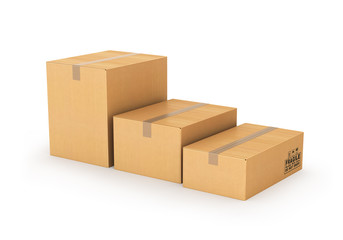 cartons of different sizes on a white background. 3d illustratio