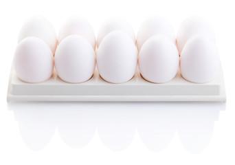 Chicken white eggs closeup