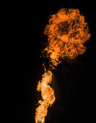 Strong flame, real photo.