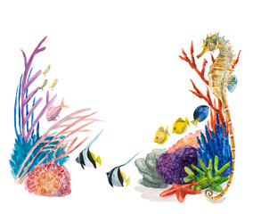 Frame from underwater inhabitants. Sea life. Watercolor hand drawn illustration.