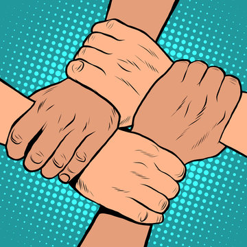 White black solidarity handshake stop racism pop art retro style