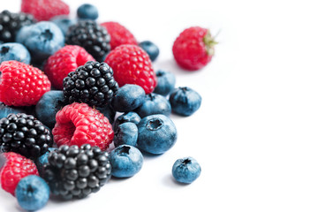 Mix of fresh berries on white background. Close up, high resolution product. Harvest Concept