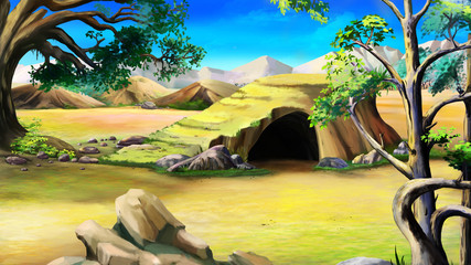 Stone Cave in the African Bush. Day
