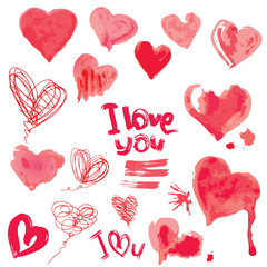Set of grunge aquarelle hearts and words  I LOVE YOU - Elements