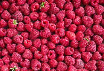 Raspberries background. Close up, top view, high resolution product. Harvest Concept