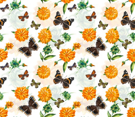 Marigolds and butterflies seamless. Pattern from flowers. Watercolor hand drawn illustration