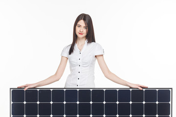 woman with solar panel