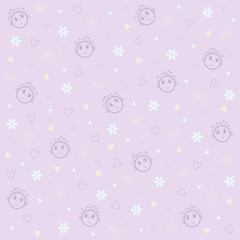 Vector child's pattern on violet background with flowers and hearts