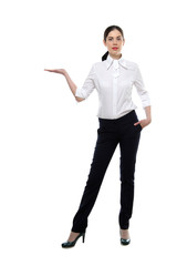 Young slender business woman wearing on white shirt and black trousers