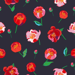 Seamless floral  background. Isolated red flowers and leafs on black background
