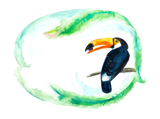 Toucan on a branch. Frame from palm leaves. Place for your text.  Watercolor hand drawn illustration