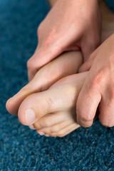 Healthy male feet feeling comfortable at home.