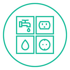 Utilities signs electricity and water line icon.