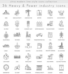 Vector heavy and power industry ultra modern outline line icons for web and apps.
