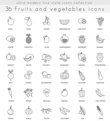 Vector fruits and vegetables ultra modern outline line icons for web and apps.