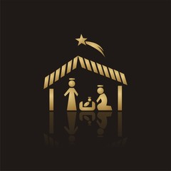 Golden Christmas Nativity Icon with reflection on black background