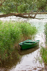 A small rowing boat in reed by the lake shore.