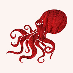 Octopus designed using red grunge brush graphic vector.