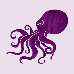 Octopus designed using purple grunge brush graphic vector.