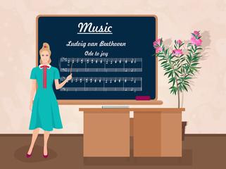 School Music female teacher in audience class concept. Vector illustration.