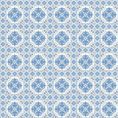 Retro Floor Tiles patern, traditional blue and white Dutch tiles