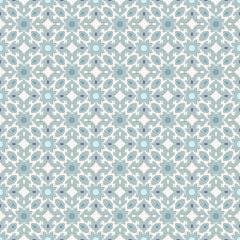 Retro Floor Tiles patern with small flowers and leaves in teal colors
