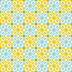 Retro Floor Tiles patern in yellow and teal colors. Leaves and flowers pattern. Seamless vector background.