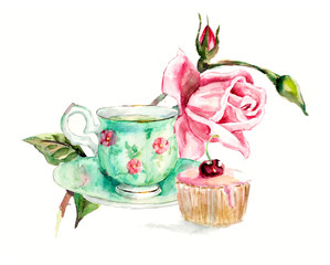 Tea Time. A cup of tea and cake. Invitation to tea drinking. Watercolor hand drawn illustration. Green cup with pink flowers. Roses brunch.