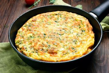 Omelette in frying pan