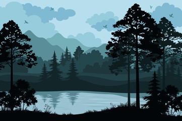 Canvas Prints Pool Evening Forest Landscape, Silhouettes Pines and Fir Trees, Bushes, Grass on the Mountain River Bank and Cloudy Sky with Birds. Vector
