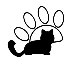 Silhouette of a cat and paw outline. Logo, emblem, symbol.