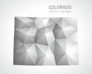 Colorado grey polygonal vector map