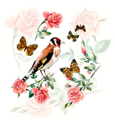 Tea Time. Goldfinch pecks cake. Cup with tea and a rose branch. Invitation to tea drinking. Watercolor hand drawn illustration.