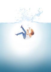 Woman falling into water
