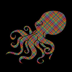 Octopus designed using colorful pixels graphic vector.
