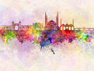 Edirne skyline in watercolor background