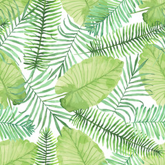 Tropical seamless pattern with leaves. Watercolor background wit