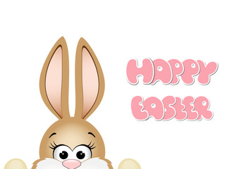 Easter bunny peeking out from the bottom edge of postcard.