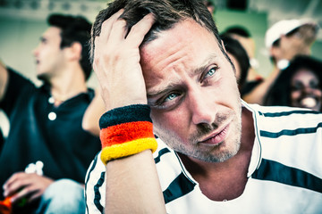 Sad Germany Supporter at the Stadium, Soccer Championship