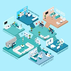 Hospital Isometric Scheme Icons