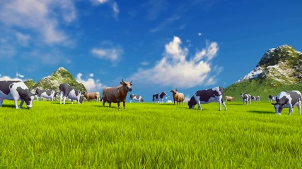 Wall Mural - Herd of dairy cows graze on a green alpine meadow with mountain peaks on the background. Slow forward motion. Low angle view. Realistic 3D animation.