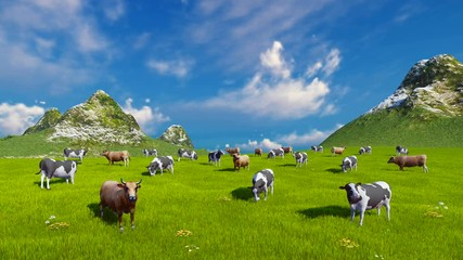 Wall Mural - Farm landscape with a herd of mottled dairy cows grazing on a verdant alpine pasture at sunny day. Static shot. High angle view. Realistic 3D animation.