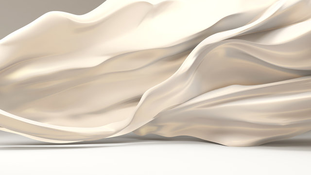 White background with soaring, flying, moving fabric - silk, satin, satin.