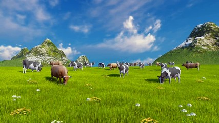 Wall Mural - Herd of dairy cows graze on a green alpine meadow with mountain peaks on the background at sunny day. Sliding upward shot. Realistic 3D animation.