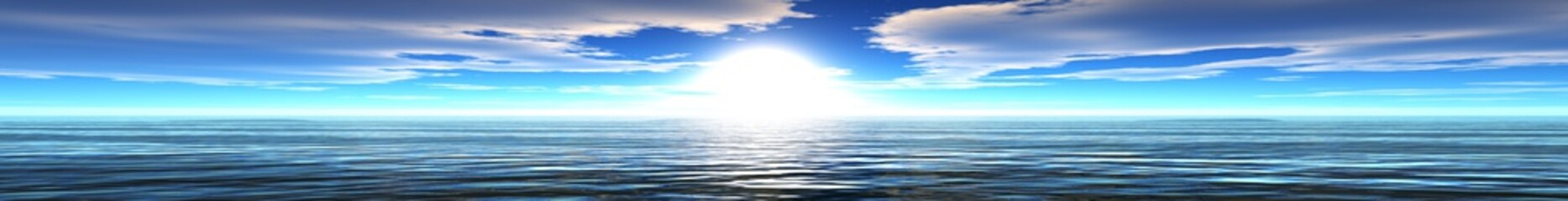 panoramic sunset sea landscape, ocean sunrise, the light in the sky over the sea, the sun over the water,
